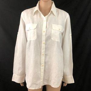 LAUREN Ralph Lauren Shirt Sz 10 Ivory Roll Sleeve